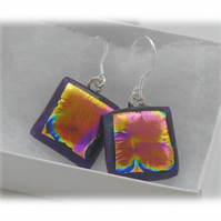 Handmade Fused Dichroic Glass Earrings 198 Cranberry Squares