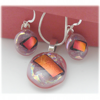 Dichroic Glass Pendant Earring Set 063 Pink Red Shine silver plated chain