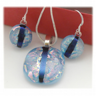 Dichroic Glass Pendant Earring Set 064 Aqua shimmer stripe silver plated chain