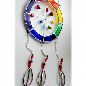Dreamcatcher Stained Glass Suncatcher  Rainbow 018