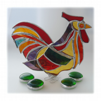 Rooster Stained Glass Ornament Cockerel Richard X