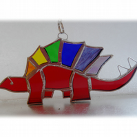 Dinosaur Suncatcher Stained Glass Stegosaurus Red 027