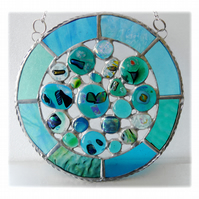 Rockpool Suncatcher Stained Glass Abstract Handmade fused 018