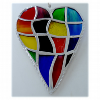 Patchwork Heart Suncatcher Stained Glass Handmade Rainbow 034