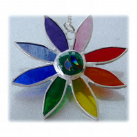 Rainbow Daisy Suncatcher Stained Glass Flower Dichroic 022