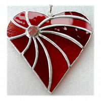 Swirled Heart Stained Glass Suncatcher 004 ruby wedding