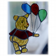 Bear with Balloons Suncatcher Stained Glass Handmade 012