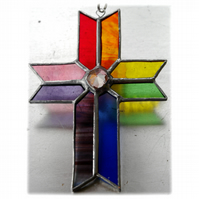 Cross Suncatcher Stained Glass Handmade Rainbow Crystal 047