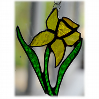 Daffodil Suncatcher Stained Glass Handmade Spring Flower 024