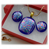 Dichroic Glass Pendant Earring Set 066 Blue Glitter with gold plated chain