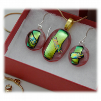 Dichroic Glass Pendant Earring Set 066 Pink Gold Emerald with gold plated chain