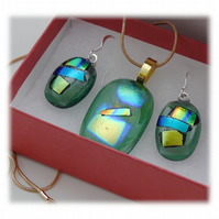 Dichroic Glass Pendant Earring Set 069 Green Gold Shimmer with gold plated chain