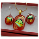 Dichroic Glass Pendant Earring Set 070 Red Gold Boat with gold plated chain
