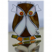 Owl Suncatcher Stained Glass Handmade Bird Too Wit Too Woo 026
