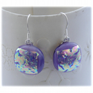 Handmade Fused Dichroic Glass Earrings 205 Lilac Shimmer