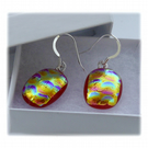 Handmade Fused Dichroic Glass Earrings 203 Red Gold bubbles