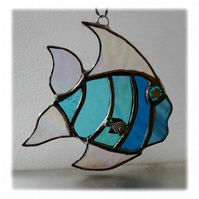 Tropical Fish Suncatcher Stained Glass Handmade Aqua 019
