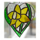 Daffodil Heart Suncatcher Stained Glass 010