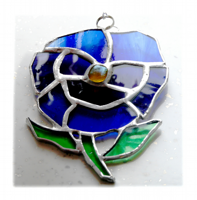 Pansy Suncatcher Stained Glass Blue Purple Flower 011