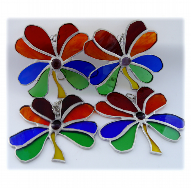 RESERVED  4 x Leaf Clover Leaf Suncatcher Stained Glass Rainbow Lucky