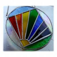 Rainbow Weather Suncatcher Stained Glass Handmade Ring 004