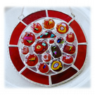 Melting Pot Suncatcher Stained Glass Abstract Handmade fused 003 Red
