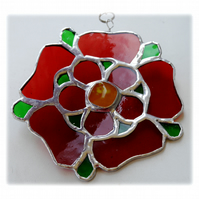 RESERVED Lancashire Rose Suncatcher Stained Glass Red Handmade 040