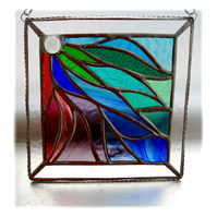 Ribbons Stained Glass Suncatcher Handmade 006 Bordered