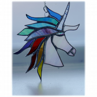 Unicorn Suncatcher Stained Glass Handmade Rainbow 014 Melody
