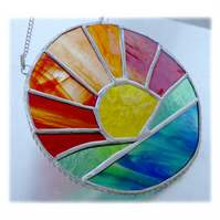 Sunrise Picture Stained Glass Suncatcher Handmade Sun Ring 031