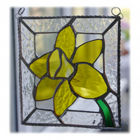 Daffodil Stained Glass Framed Suncatcher Spring Flower 021