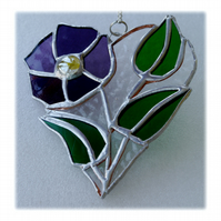 Pansy Heart Suncatcher Stained Glass Flower 015