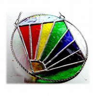 Rainbow Weather Suncatcher Stained Glass Handmade Ring 006
