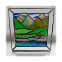 Picos Mountains Picture Suncatcher Stained Glass 005