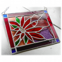 Framed Flower Stained Glass Suncatcher Dahlia Handmade 001