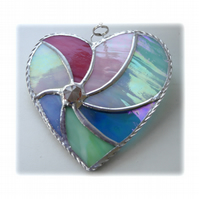 Pastel Swirl Heart Stained Glass Suncatcher 020