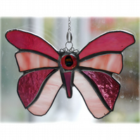 Pink Butterfly Suncatcher Stained Glass 047