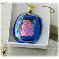 Dichroic Glass Pendant 104 Blue Pink shimmer Handmade with gold plated chain