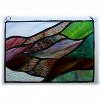 Scottish Mountains Panel Stained Glass Picture Landscape 006