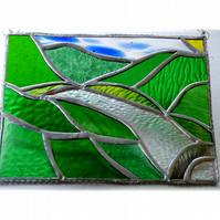 River Valley Panel Stained Glass Landscape Picture Wye 007