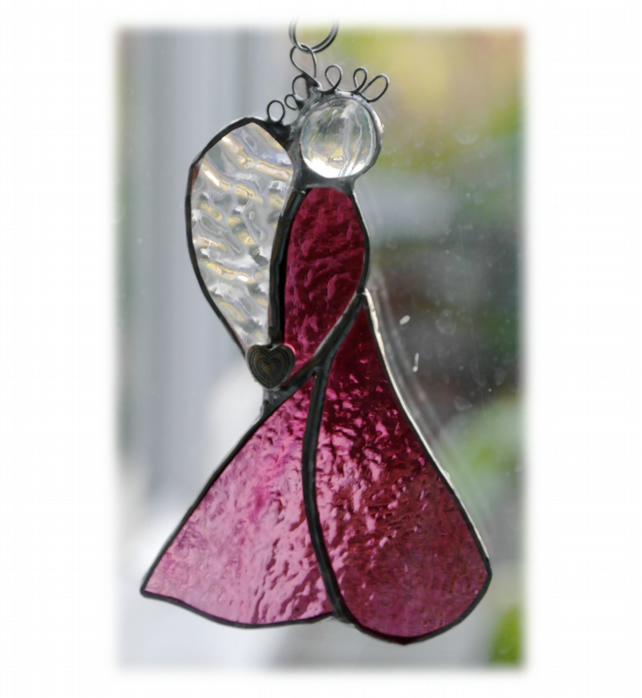Angel Suncatcher Stained Glass Heart Cranberry Christmas 018