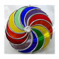 Rainbow Swirls Stained Glass Suncatcher Circular