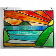 Sea View Panel Stained Glass Picture Landscape Sunset  004