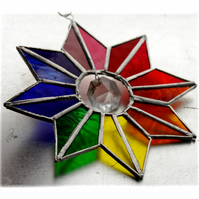 Star Rainbow Crystal Stained Glass Suncatcher 006