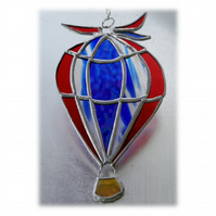 Hot Air Balloon Stained Glass Suncatcher 006 Red Blue