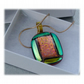Dichroic Glass Pendant 107 Red Aqua old bubbles Handmade with gold plated chain