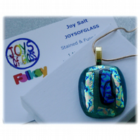 Dichroic Glass Pendant 110 Aqua multi shimmer Handmade with gold plated chain