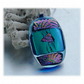 Dichroic Glass Pendant 106 Aqua Purple Pattern with silver plated chain
