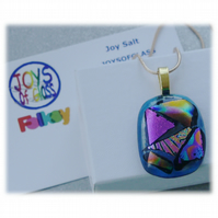 Dichroic Glass Pendant 108 Aqua Patchwork Handmade with gold plated chain
