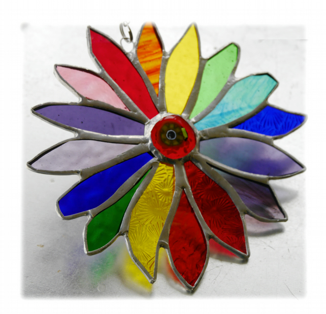 Rainbow Flower Stained Glass Suncatcher 057